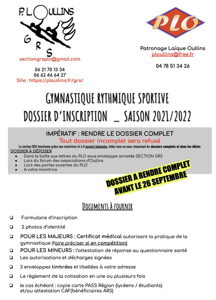 DOSSIER D INSCRIPTION 2021 2022